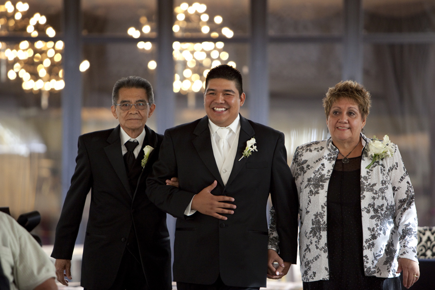 Groom Walking Down Aisle at JW Marriott Wedding Ceremony © Marni Mattner Photography