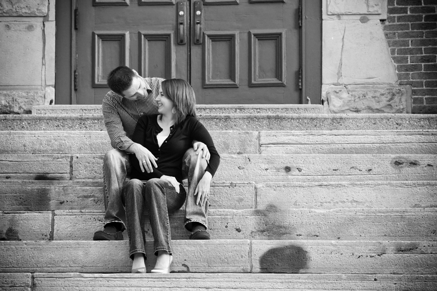 Joe and Jenae on the Steps of Old Main © Marni Mattner Photography