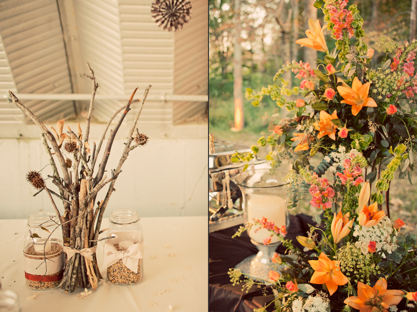 DIY Twig Wedding Centerpiece and Wedding Flowers © Marni Mattner Photography