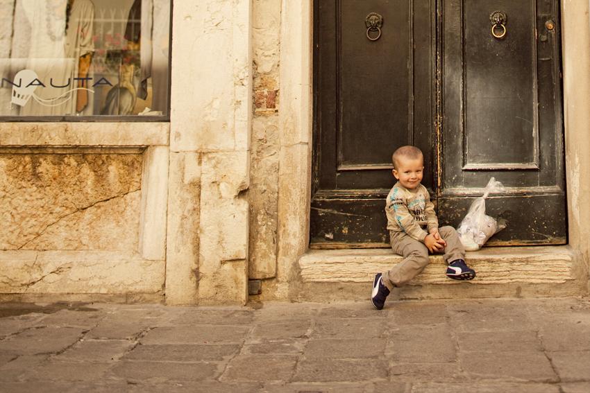 Little Italian boy smiles shyly © Marni Mattner