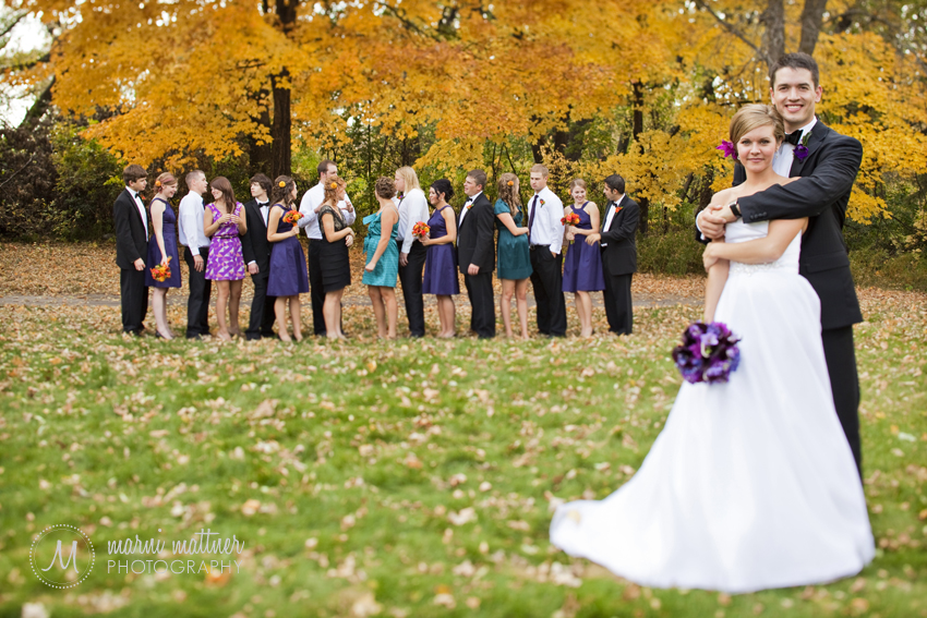 Bride &amp; Groom with Wedding Party  Marni Mattner Photography