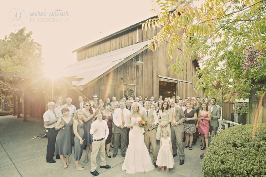 Wedding Guests At Sunset By The Healdsburg Country Gardens Barn © Marni Mattner Photography