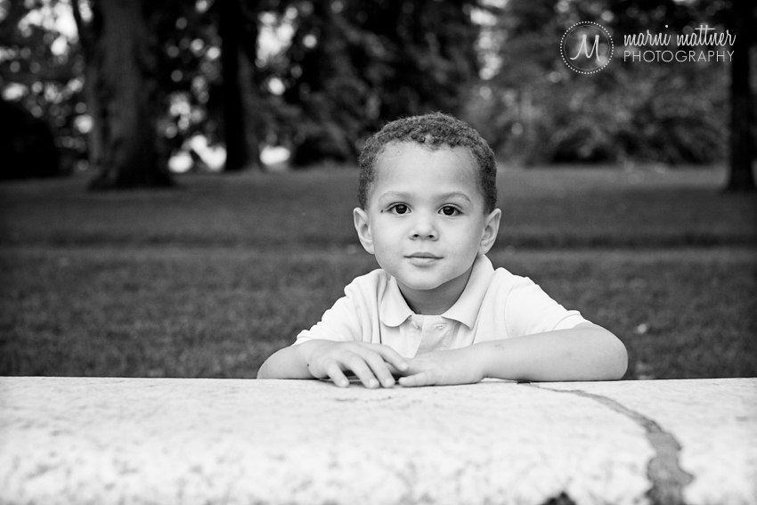 Trey Washington Park bench child portraits  Marni Mattner Photography