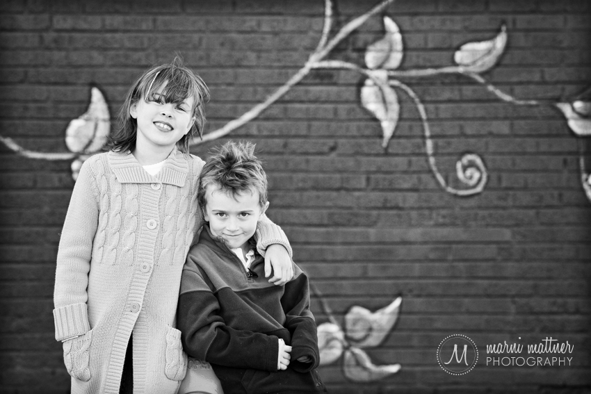 Grace and Jack in River North, Denver for Sibling Portraits  Marni Mattner Photography
