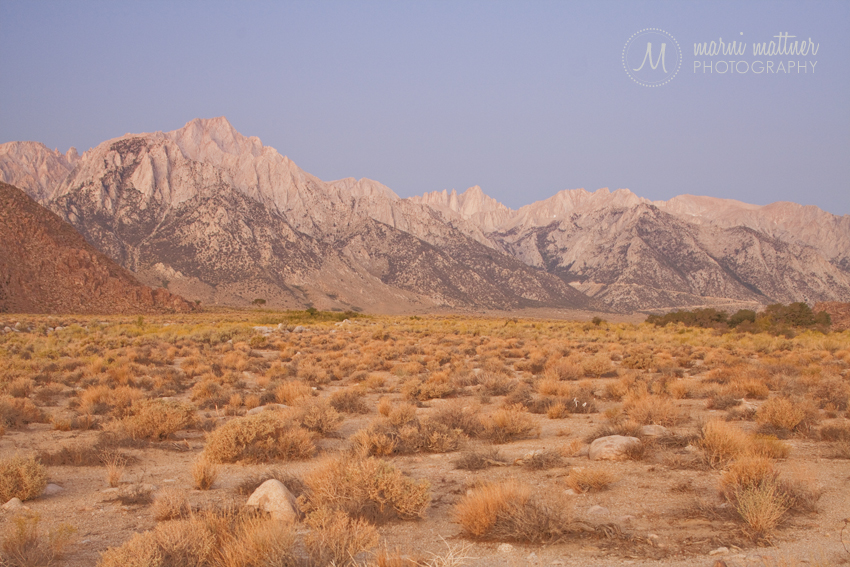 Mount Whitney and Mt. Whitney Portal Just Before Sunrise  Marni Mattner Photography