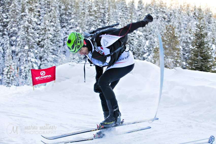 Removing Skins From Skis at a Transition Point During the Sprint Race 2012 ISMF North American Ski Mountaineering Championships © Marni Mattner Photography