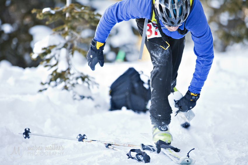 Transition Point Removing Skins From Skis © Marni Mattner Photography