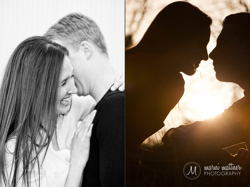 Silhouette Engagement Photos of Andrea and Steve in Denver  Marni Mattner Photography
