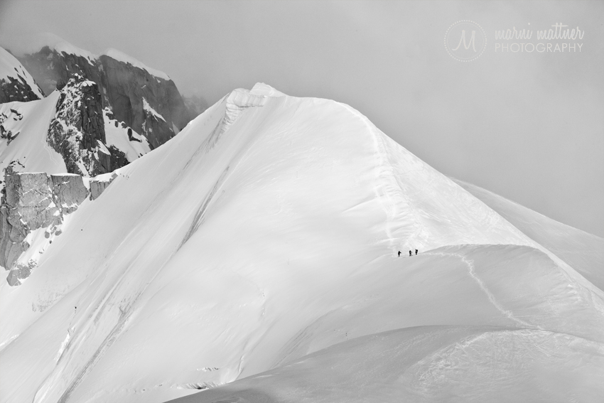 Mont Blanc, Chamomonix Skiiers on Ridge © Marni Mattner Photography