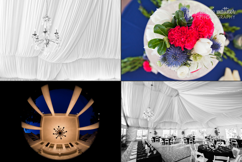 DIY Flowers, Draped Thoole, Fisheye Lens and Vintage Chandelier at Steve & Andrea's Wedding © Marni Mattner Photography