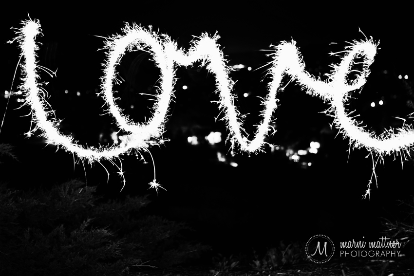 """Love"" Light-Written By A Sparkler © Marni Mattner Photography"