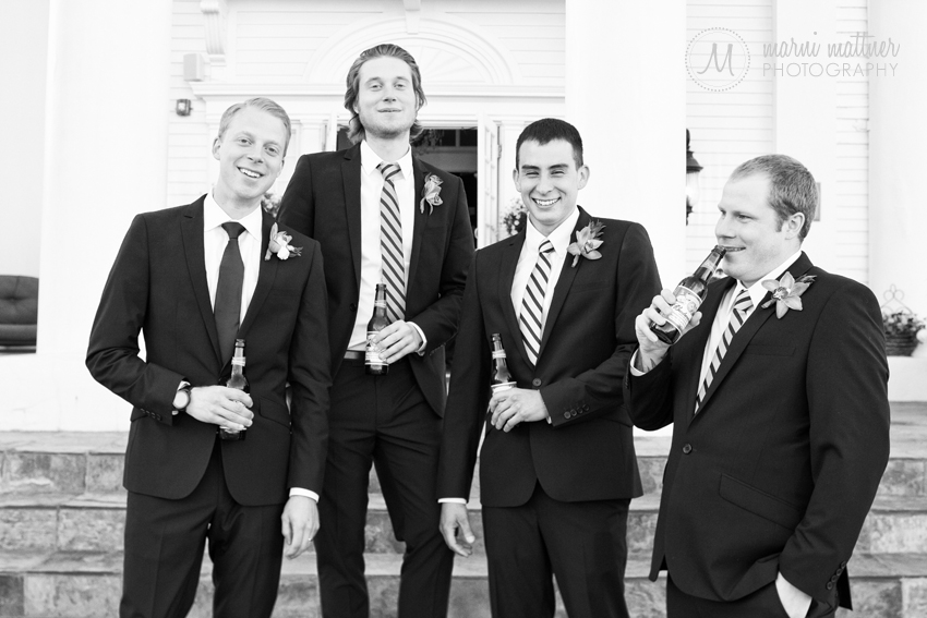 Groomsmen and Groom in Front Of The Manor House in the Colorado Foothills  Marni Mattner Photography