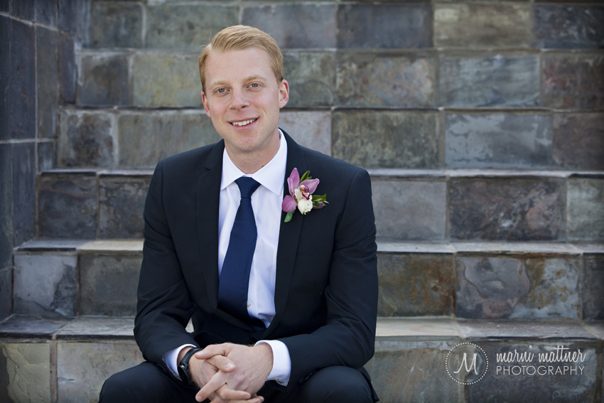 Groom Steve on Littleton, CO's Manor House Steps Before Wedding © Marni Mattner Photography