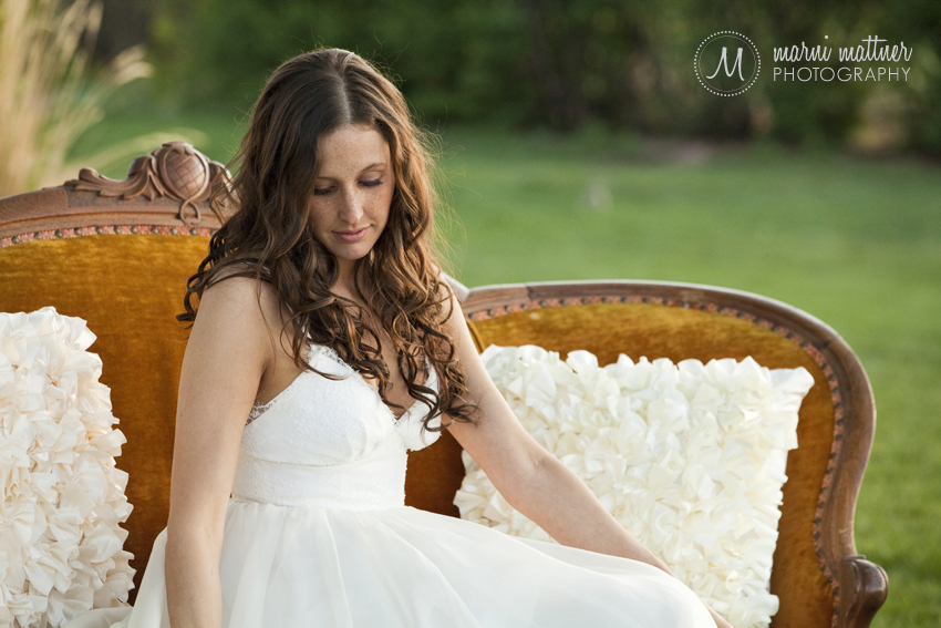 Bride Andrea on Vintage Couch Before Wedding  Marni Mattner Photography