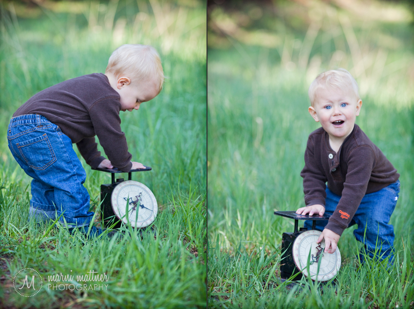1-Year-Old Logan Checking His Weight With a Vintage Scale © Marni Mattner Photography