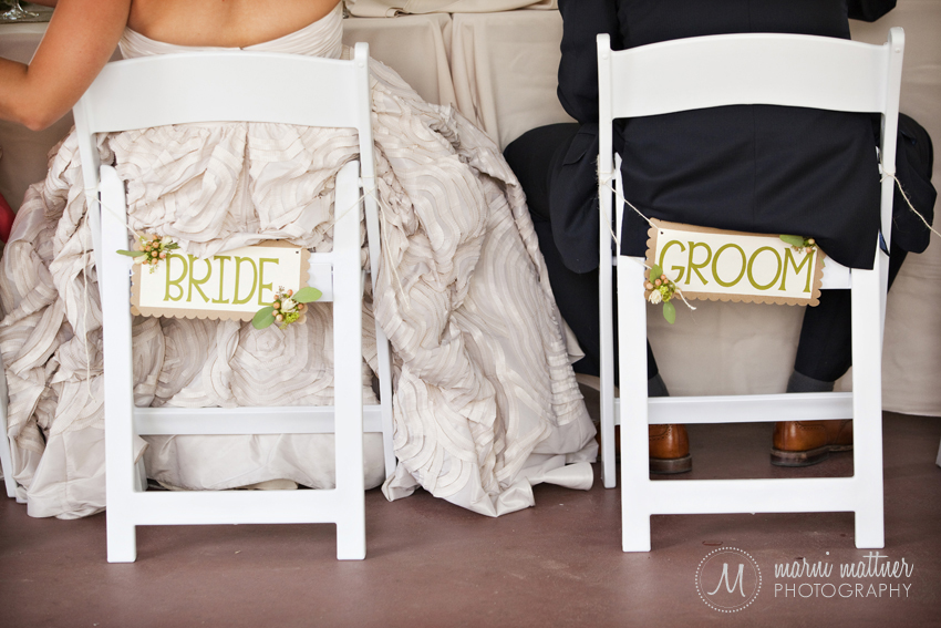 Handmade Bride & Groom chair signs for Megan and Logan © Marni Mattner Photography