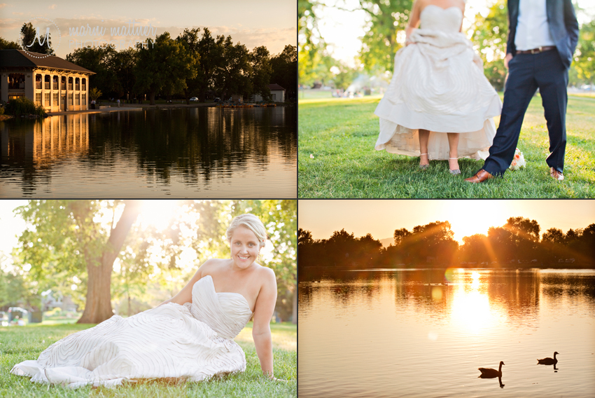 Sunset over Wash Park's lake and boathouse, and the newlyweds!  Marni Mattner Photography