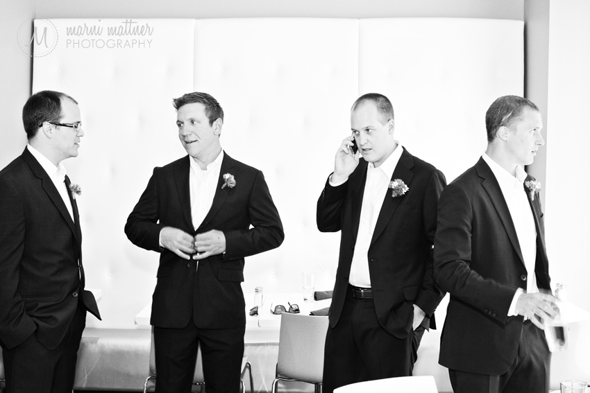 Denver, CO groom and groomsmen at The Curtis Hotel pre-wedding  Marni Mattner Photography