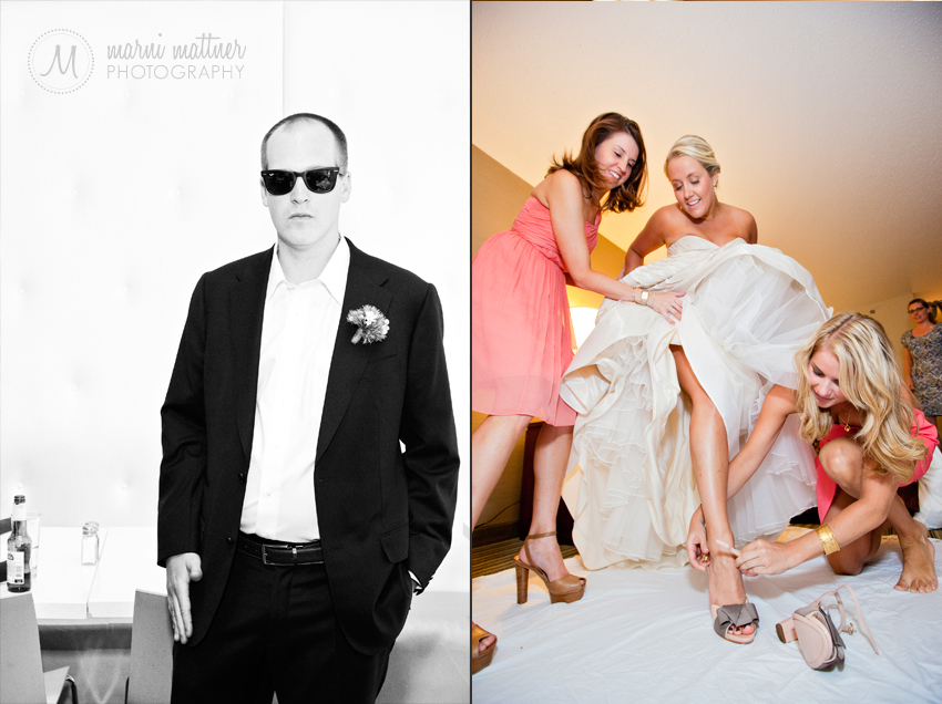 Groom and Bride prepping at The Curtis Hotel in Denver, CO © Marni Mattner Photography
