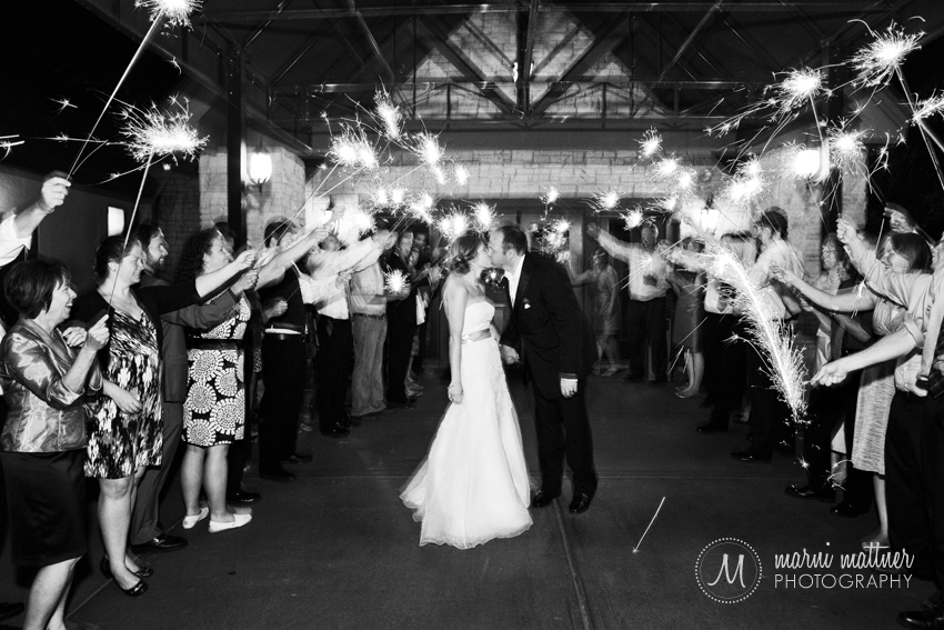 Liz & Dave's wedding sparkler send-off at Prestwick © Marni Mattner Photography