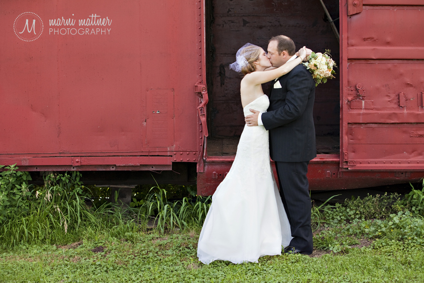 Train Car Wedding Photos of Liz & Dave near Woodbury, MN © Marni Mattner Photography