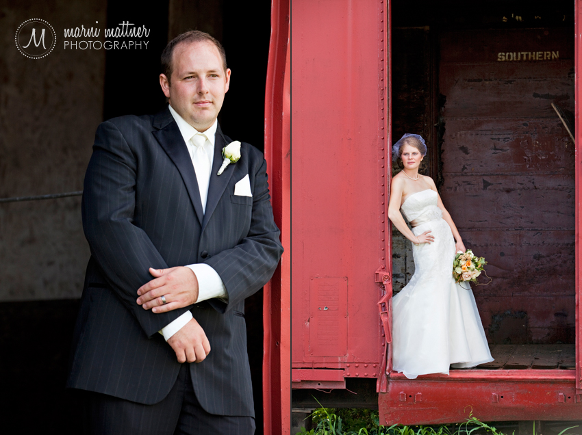 Liz &amp; Dave's red train car wedding photography  Marni Mattner Photography 