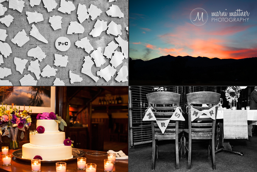 Boulder, CO Wedding Details: Puzzle Pieces for Guests, Cake, Mr. & Mrs. Chair Banner, Sunset © Marni Mattner Photography