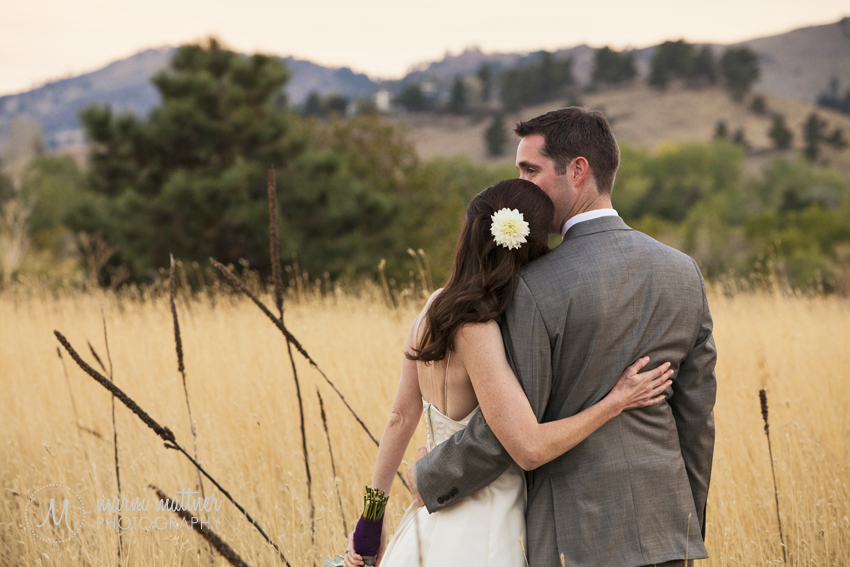 Patrick and Christina Take in Boulder, CO's Mountain Sunset at the Greenbriar Inn © Marni Mattner Photography