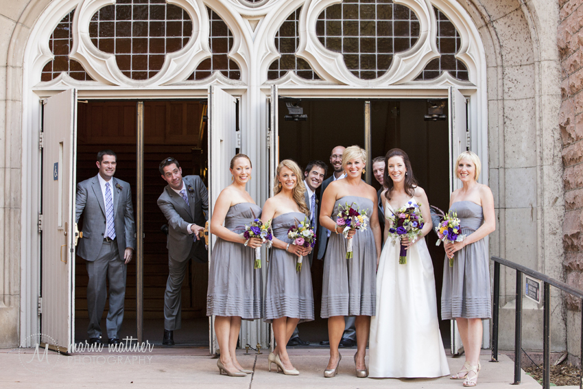 Patrick & Christina's Wedding Party in Front of Macky Auditorium at CU Boulder © Marni Mattner Photography