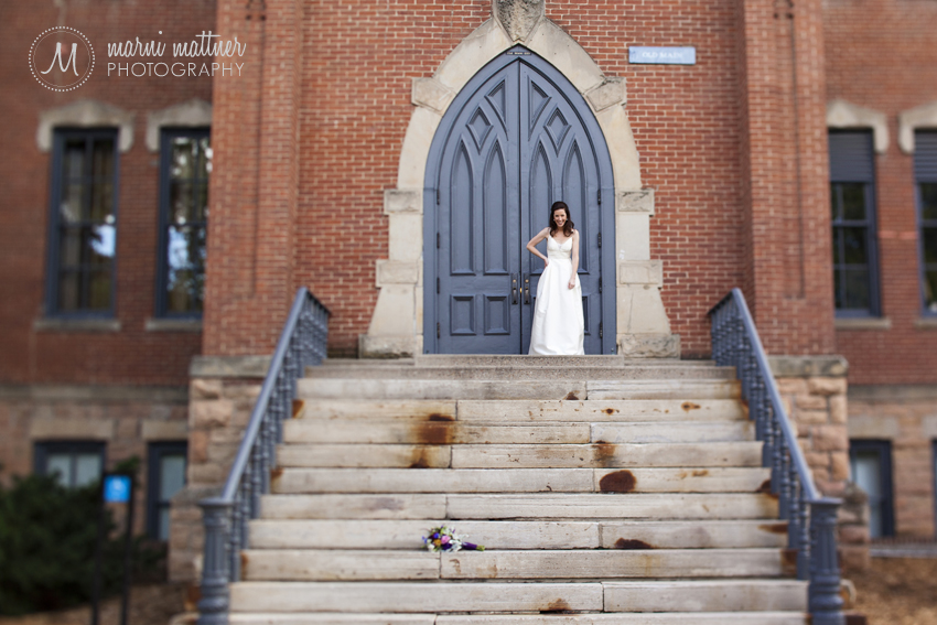 Christina In Front Of Old Main Campus Building in Colorado © Marni Mattner Photography