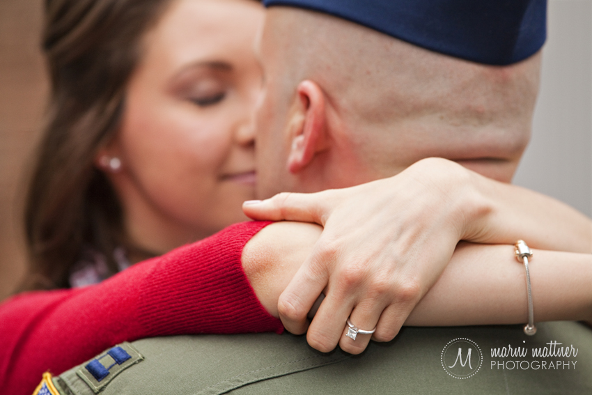 Bride-To-Be Megan hugging Fiance Jason in Denver Engagement Photos  Marni Mattner Photography
