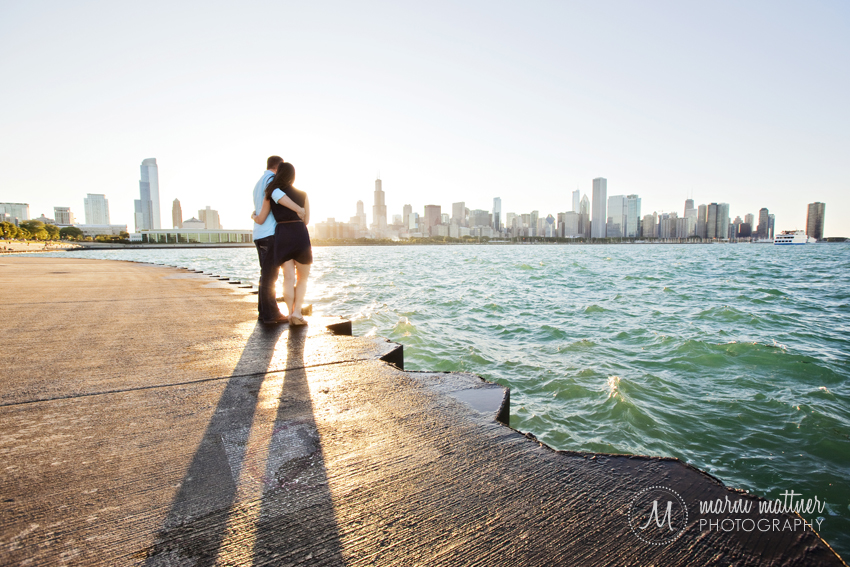 Downtown Chicago Skyline Engagement Photos At Sunset © Marni Mattner Photography