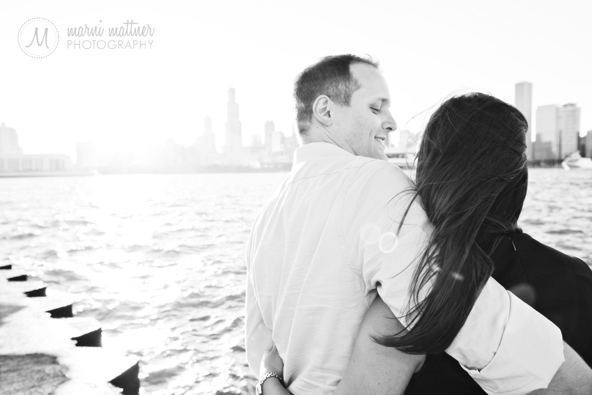 Jon & Cheryl's Sunset Engagement Photos In Chicago, IL © Marni Mattner Photography