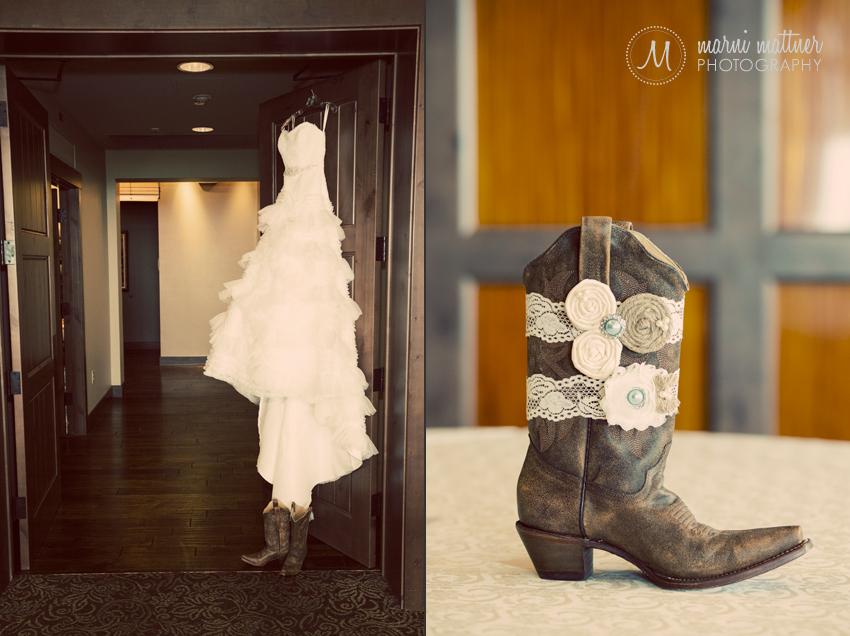 a wedding dress with cowgirl boots colorado style marni mattner photography