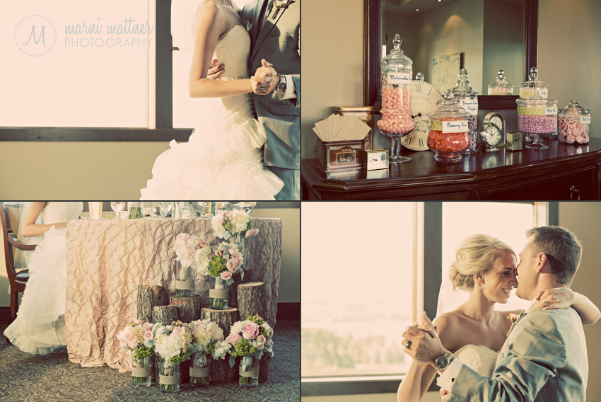 Tree Stumps With Bridesmaid Flowers and Candy Bar DIY Ideas © Marni Mattner Photography