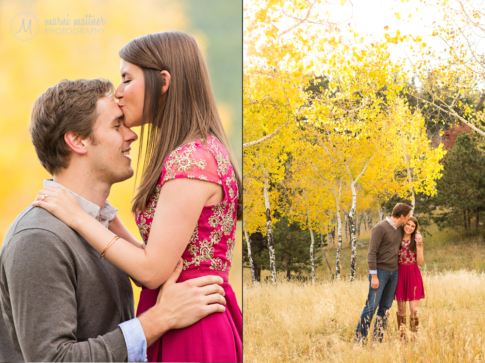 Fall engagement photos in Evergreen, CO with the aspens changing