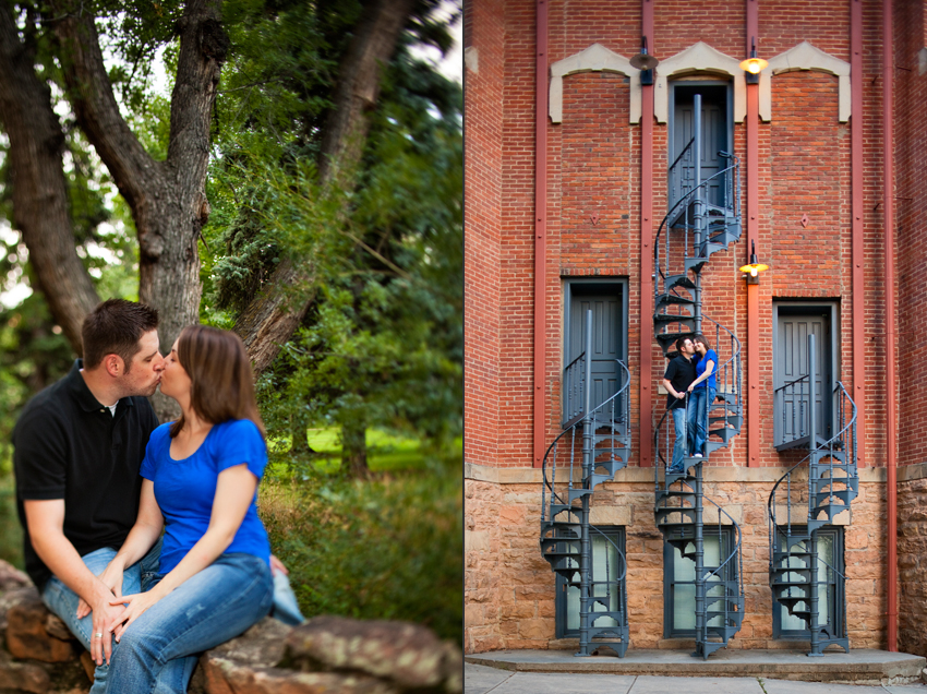 Joe and Jenae's Engagement Photos on Old Main Spiral Staircase at CU-Boulder in Boulder, CO © Marni Mattner Photography