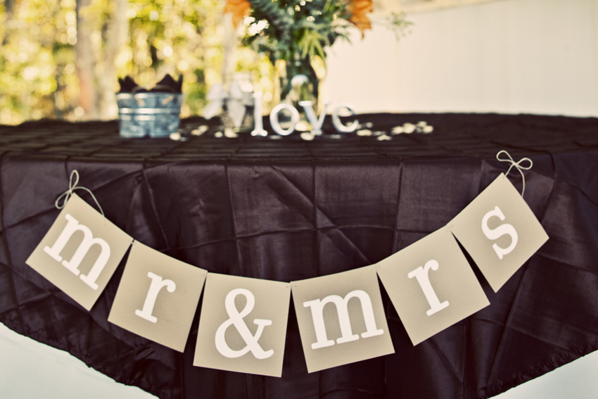 Mr. and Mrs. bride and groom DIY wedding sign © Marni Mattner Photography