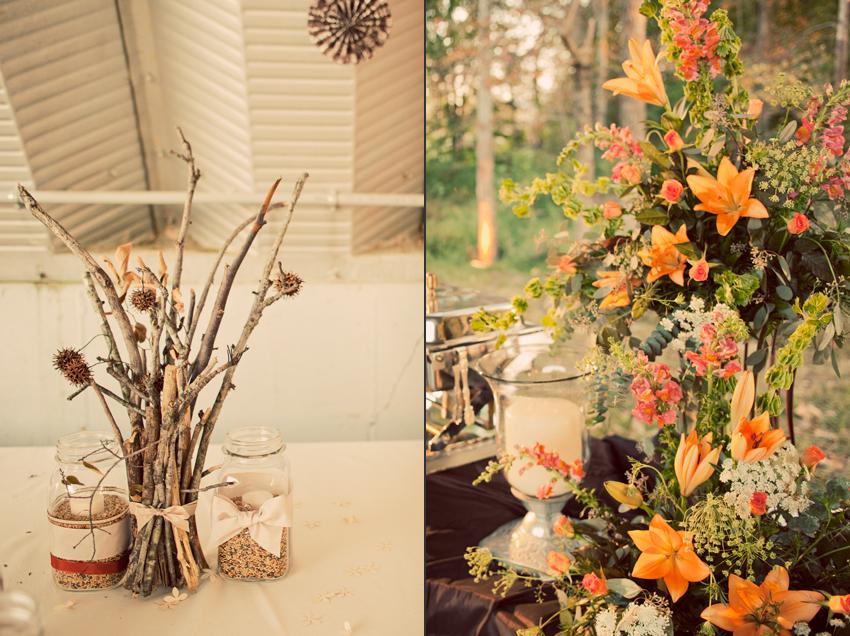 DIY Twig Wedding Centerpiece and Wedding Flowers © Marni Mattner Photography