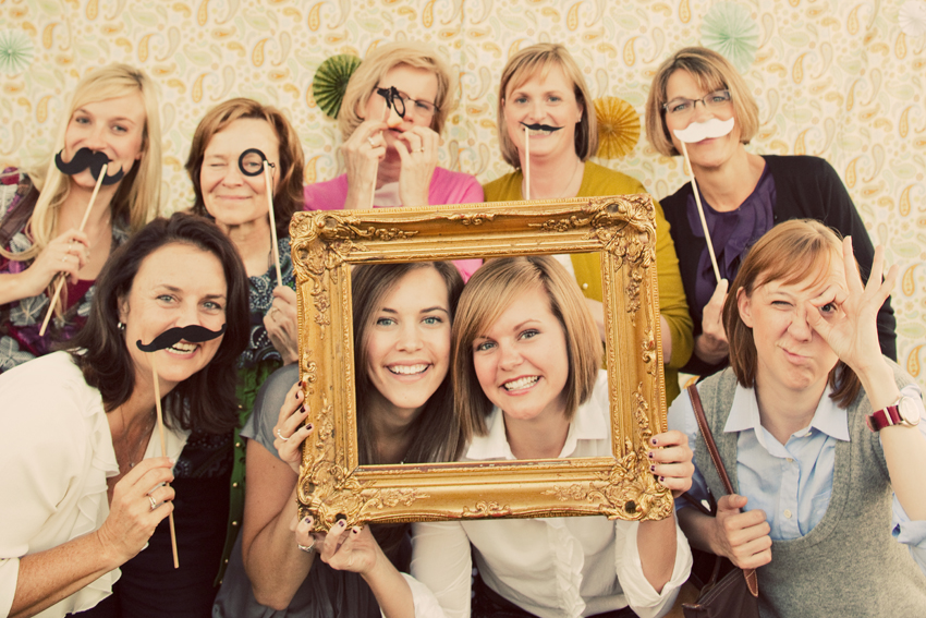 Wedding Photo Booth With Fake Mustaches © Marni Mattner Photography