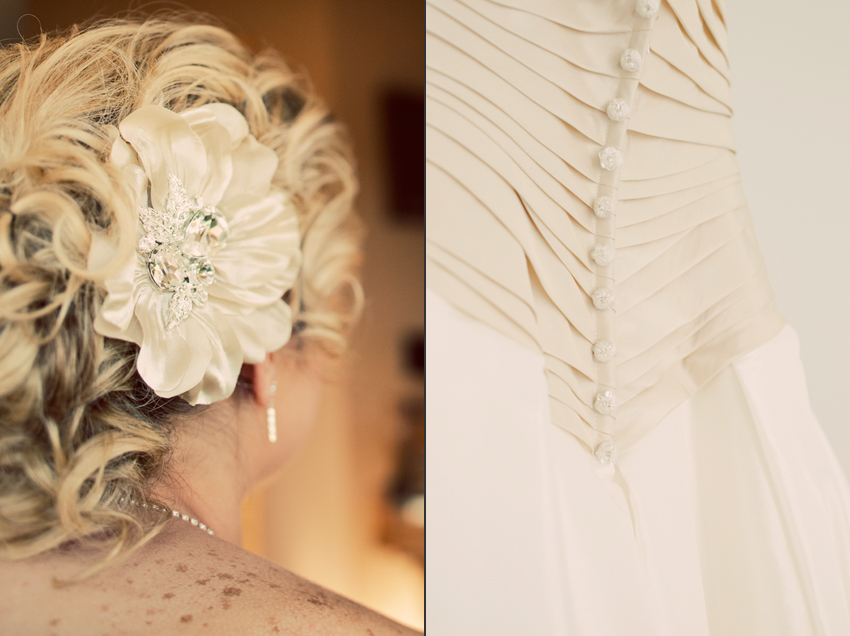 Bride Kecia's Hair Piece and Bridal Gown at Nashville Wedding © Marni Mattner Photography