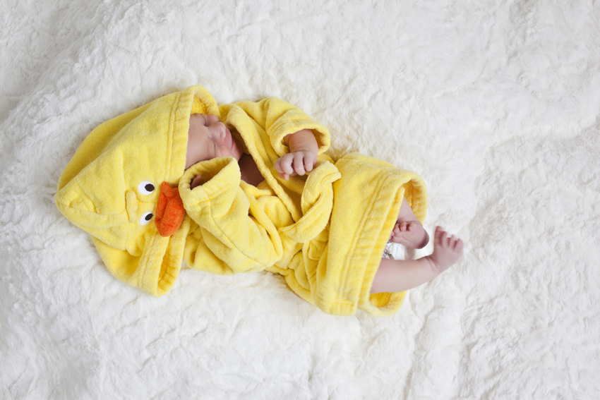 Infant photography of Logan in a duck robe (c) Marni Mattner Photography