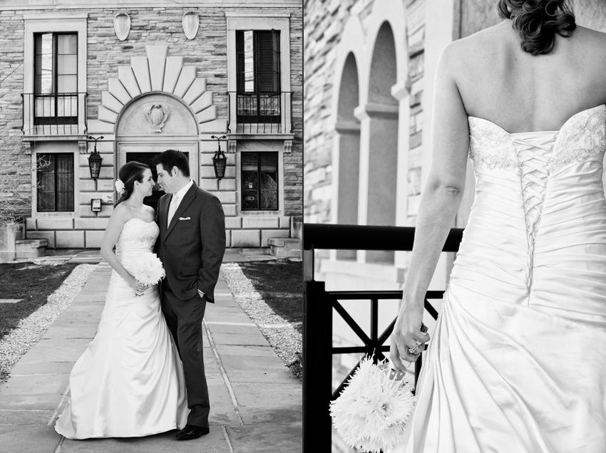 Jenae and Joe on CU Campus in Colorado for Wedding Reception © Marni Mattner Photography