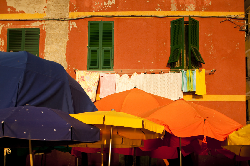 Vernazza Umbrellas in Italy's Cinque Terre copyright Marni Mattner