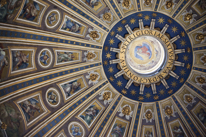 St. Peter's Basilica ceiling in the Vatican in Italy © Marni Mattner