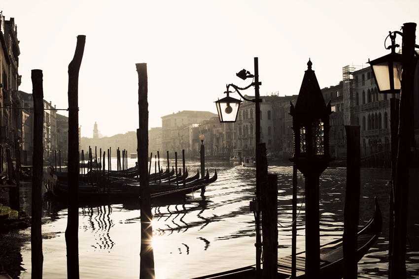 Gondolas floating on the Venetian Grand Canal © Marni Mattner