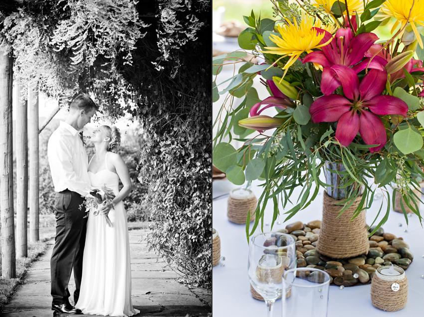 Erica & Matt's Wedding at Flying Dog Ranch with DIY stone centerpiece © Marni Mattner Photography