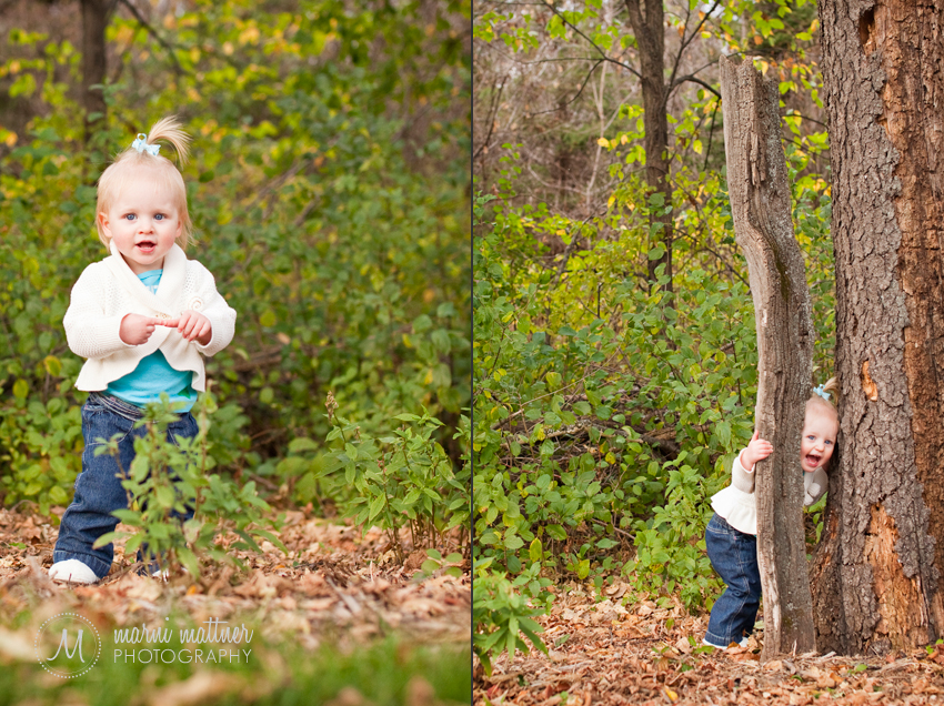 Isabelle Exploring The Woods Behind Her Cottage Grove, Minnesota Home for Baby Portraits © Marni Mattner Photography