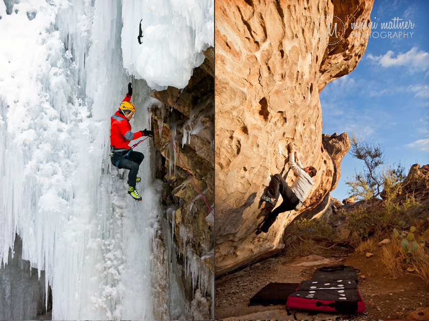 Ice Climbing in Ouray, CO and Bouldering in Hueco Tanks, TX © Marni Mattner Photography