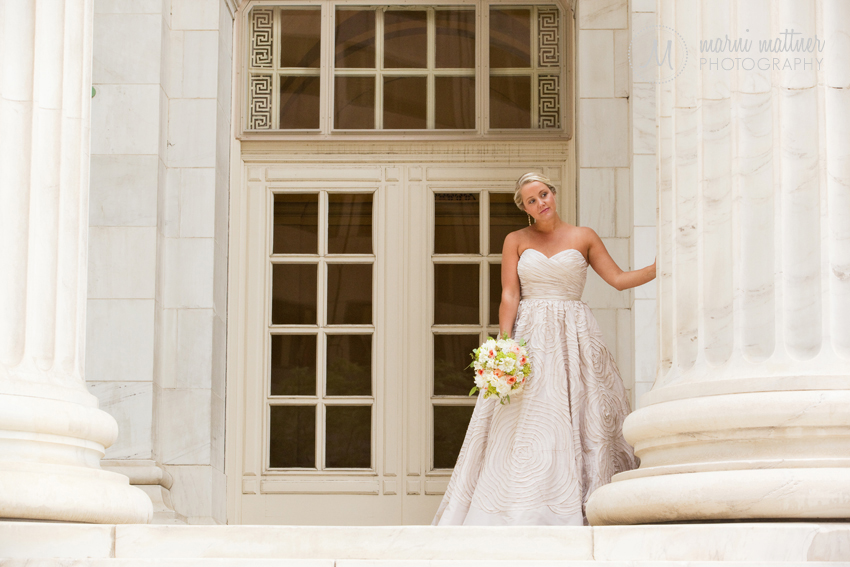 Bride Megan peeking at her groom before their First Look © Marni Mattner Photography